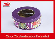 China Color Printed Round Gift Tins 0.23mm Tinplate Transparent PVC Window Lids On Top company