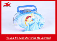 China Round Full Color Printed Cookie Gift Tins Empty Lunch Tin Box With Plastic Handle company