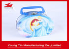 Round Full Color Printed Cookie Gift Tins Empty Lunch Tin Box With Plastic Handle