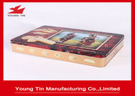 China Large Rectangle Cookie Packaging Gift Tins Box With CMYK Printing Shiny Finish factory