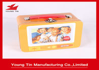 Custom Artwork Printing Cookie Gift Tins With Plastic Handle , Full Color Tin Lunch Box