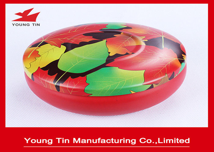CMYK Round Printed Metal Tin Containers Seamless With Fancy Tinplate Lids