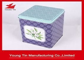 Floral Rectangular Tin Containers Recyclable Tea Packaging With Custom Printing