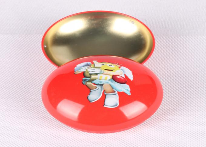 Bean Shaped Metal Mini Tin Box CMYK Printed For Candy Sweets Packaging