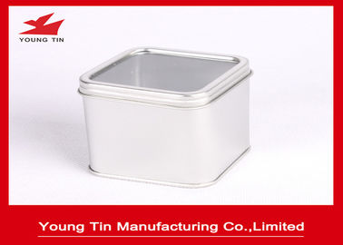 China Plain Color Small Empty Square Metal Tins CMYK Offset Printed With Clear Window On Top factory