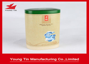 Traditional Tea Packaging Metal Oval Tin Box 0.23 MM With Custom Design Printing