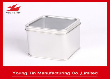 China Empty Silver Square Metal Tins With 0.23 MM Tinplate Recyclable Clear PVC Window factory