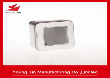 China Steel Tinplate Blank Square Metal Tins With Clear PVC / PET Window On Cap factory