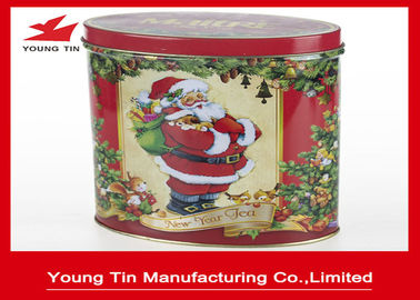 Fancy Printing Oval Tin Box , Food Grade Small Tins For Tea Packaging
